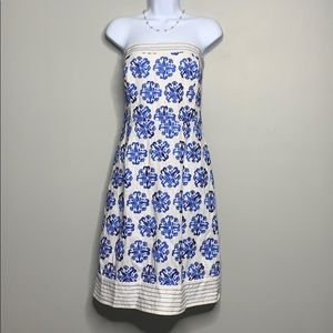 Lily Pulitzer White Blue Embroidered Dress W1 0200